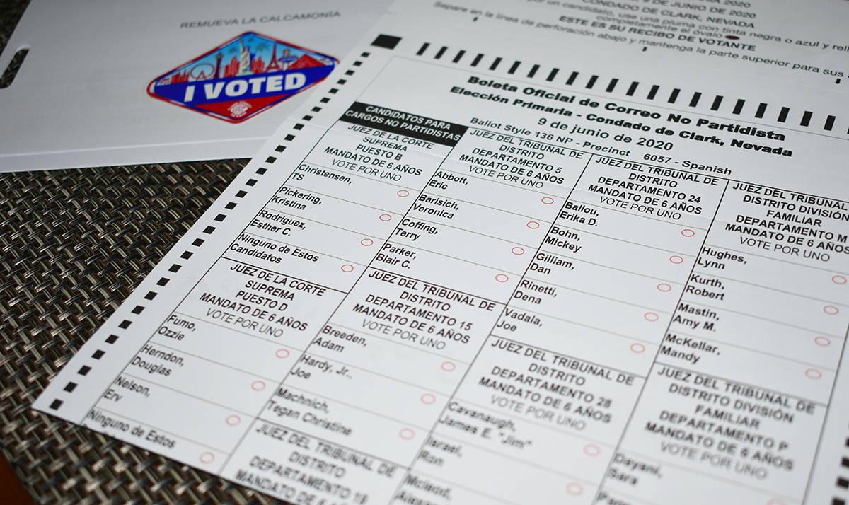 Muestra de las boletas electorales que son enviadas por el Departamento de Elecciones del Conda ...