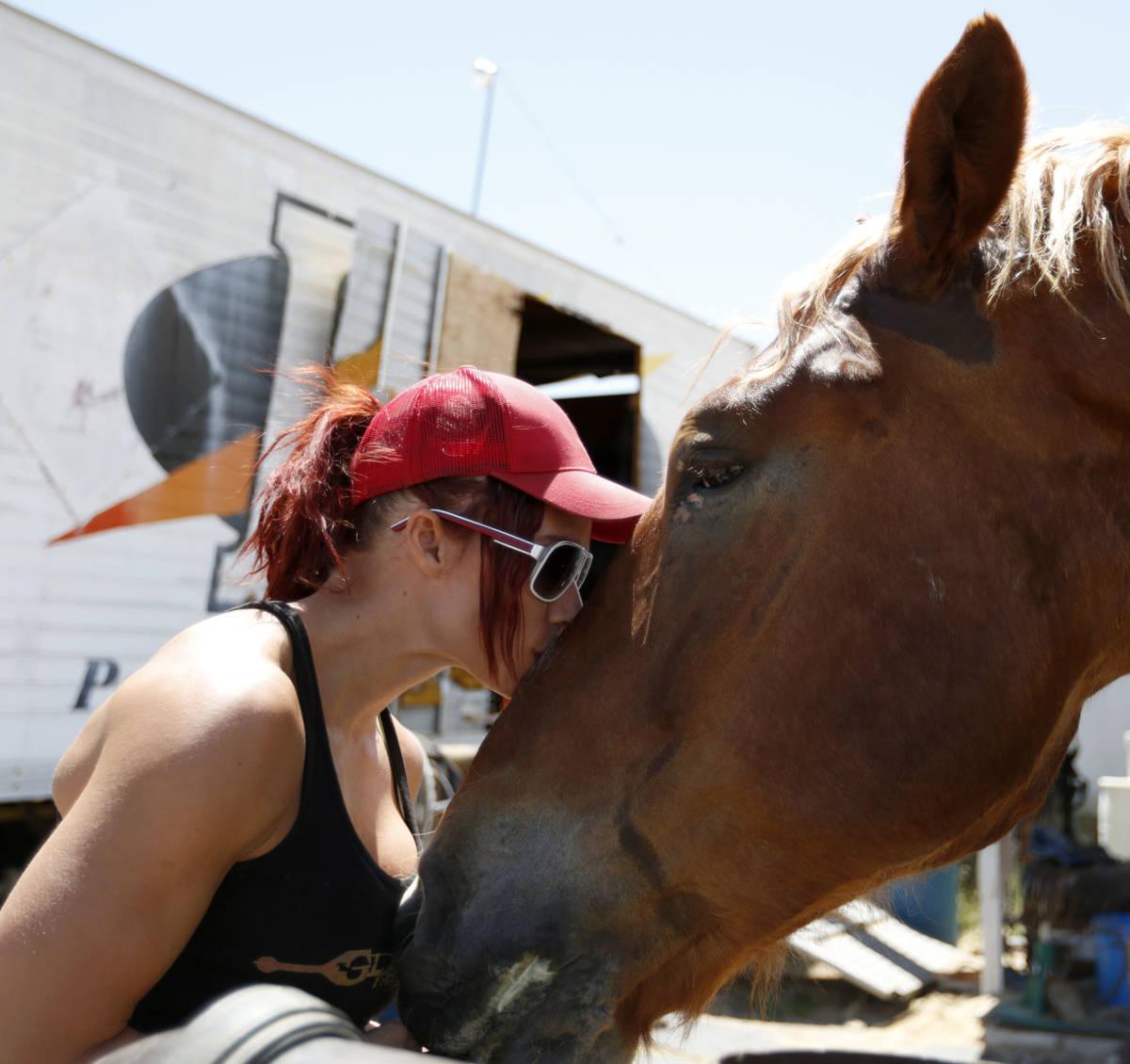 La artista de Gladius The Show, Lisa Varmbo Martonovich, besa a Thunder, un caballo, durante un ...