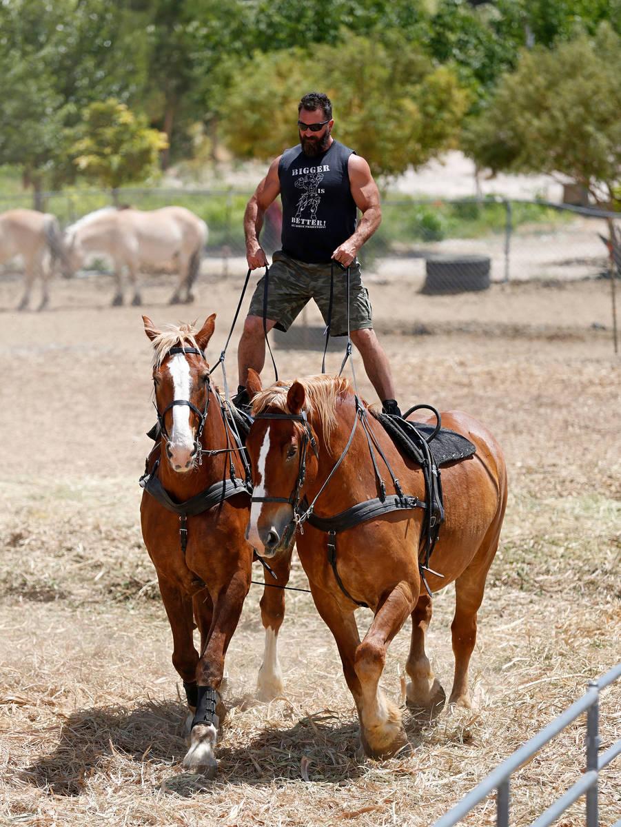 El copropietario de Gladius The Show, Erik Martonovich, monta dos caballos, Cannon y Thunder, d ...