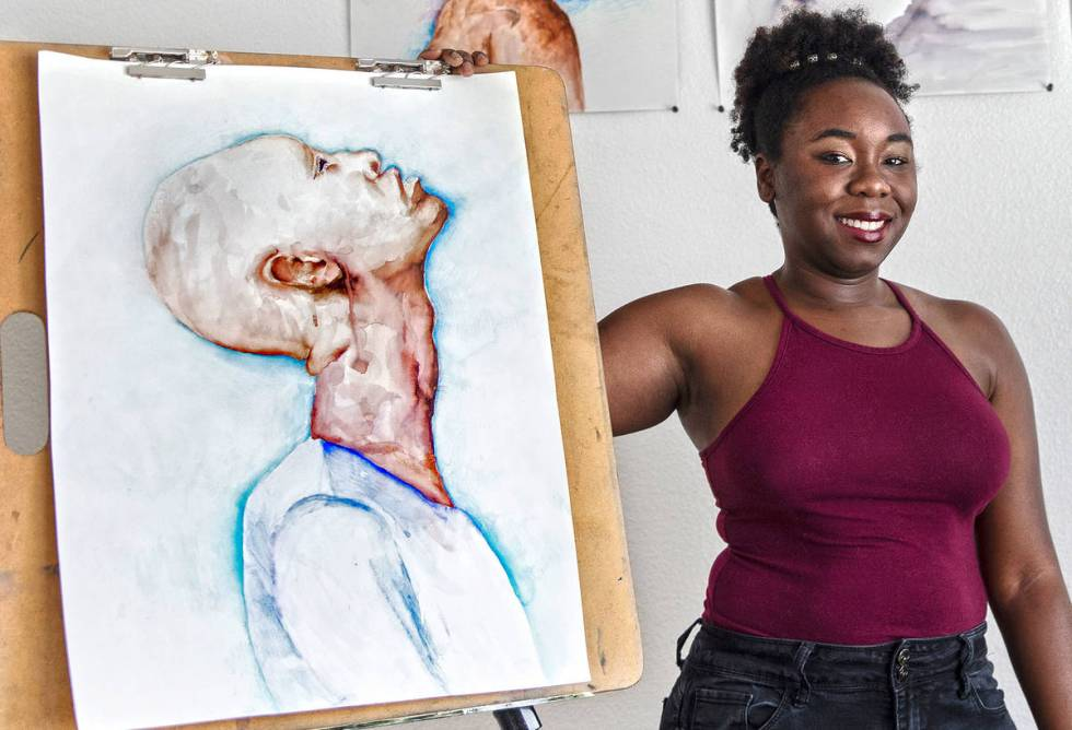 La pintora Shereene Fogenay el jueves, 11 de junio de 2020 en su casa en Henderson. (Benjamin H ...
