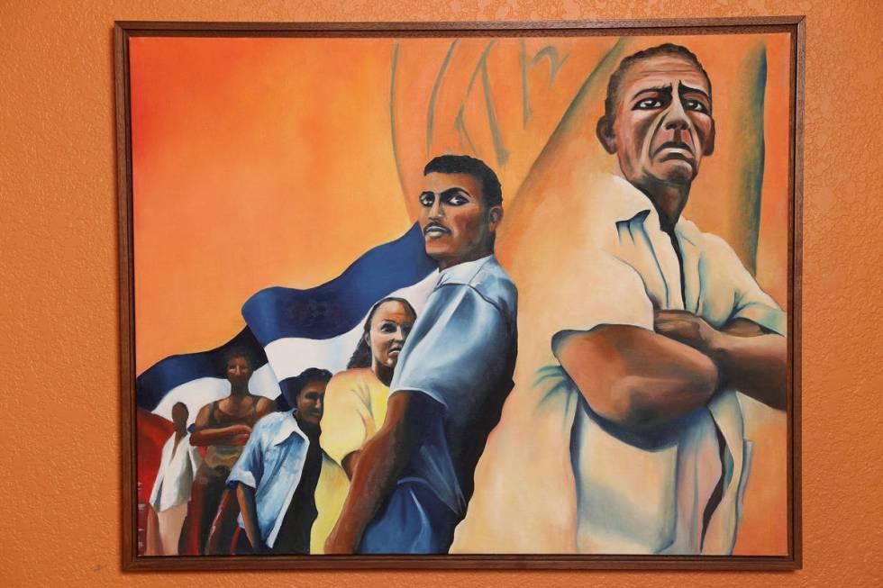 Una pintura al óleo de Vicky Richardson, la artista fundadora de Left of Center Art Gallery en ...