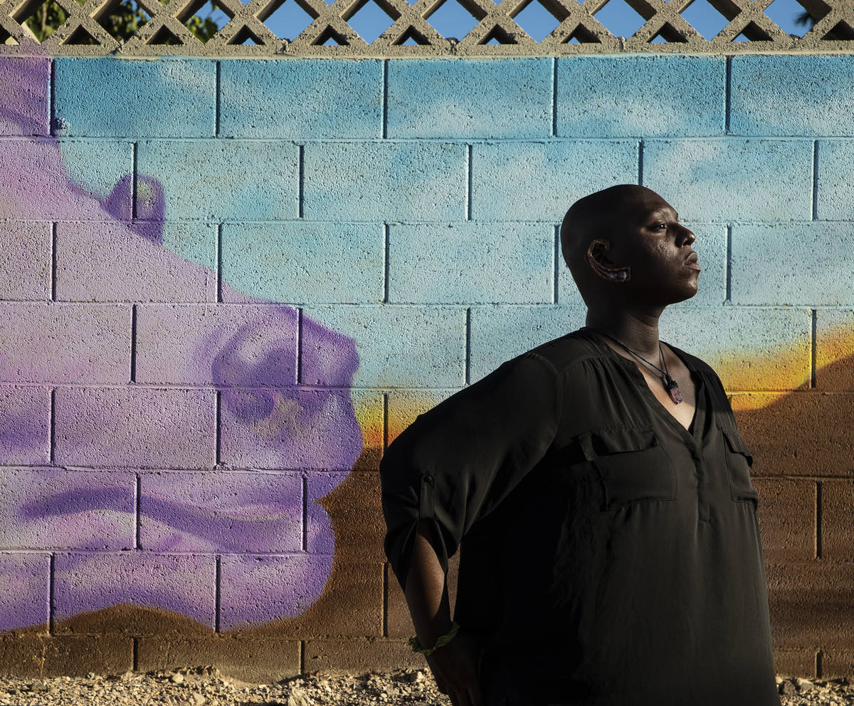 El artista e ilustrador, Lance Smith, frente a un mural que completaron para el Proyecto de Mur ...