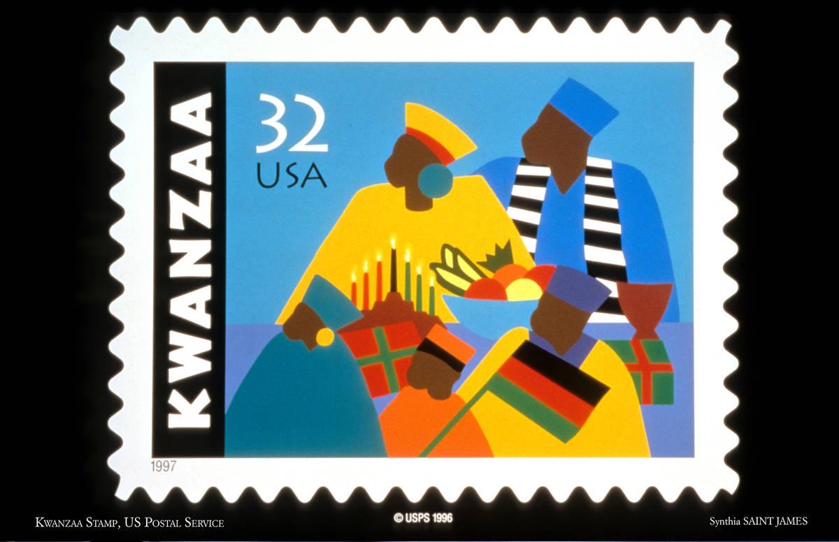 Sello conmemorativo de Kwanzaa Synthia Saint James diseñado para el Servicio Postal de Estados ...