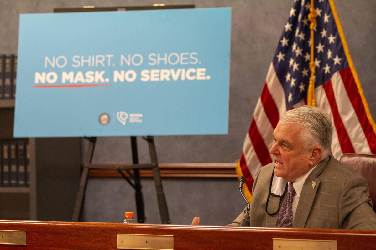 El gobernador Steve Sisolak habla durante una conferencia de prensa en Carson City el miércole ...