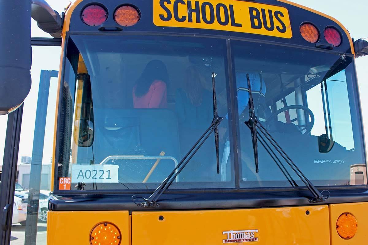 Fotografía de archivo de un autobús del Distrito Escolar del Condado Clark. [Foto Gabriella B ...