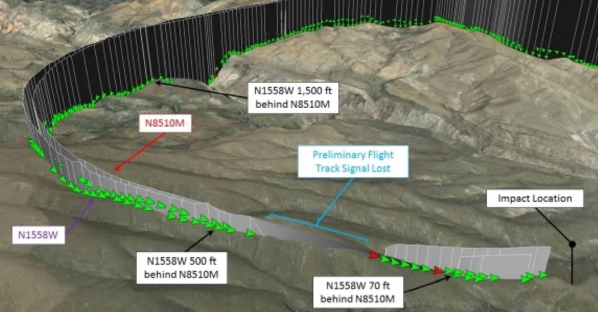Trayecto de las avionetas N1558W y N8510M. (National Transportation Safety Board)