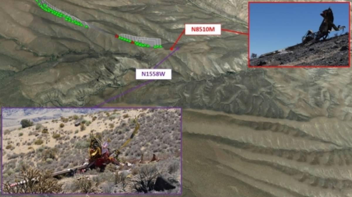 Trayectos de vuelo y el sitio del accidente. (National Transportation Safety Board)