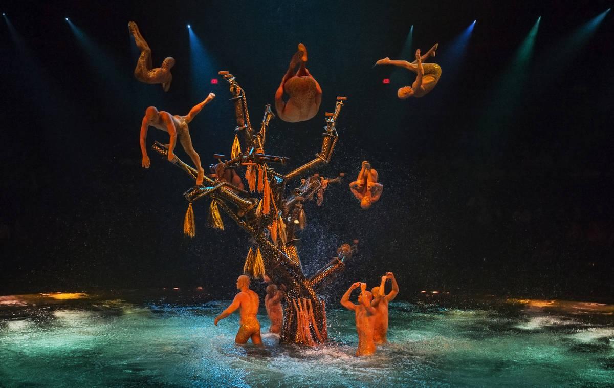 Actores saltan al agua desde una gran estructura de árbol durante la presentación a las 7:00 ...
