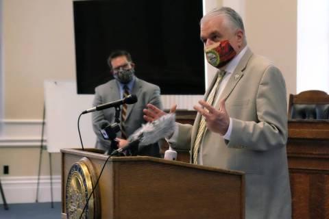 El gobernador Steve Sisolak en una conferencia de prensa en el Capitolio el lunes sobre la nuev ...
