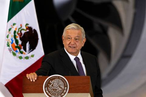 El presidente mexicano Andrés Manuel López Obrador da su conferencia de prensa matutina diari ...