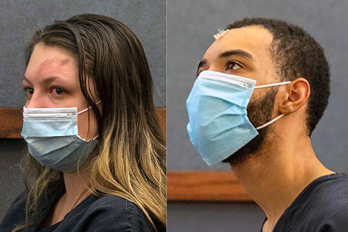Lauren Prescia, izquierda, y Cameron Hubbard-Jones en la corte. (Archivo del Las Vegas Review-J ...