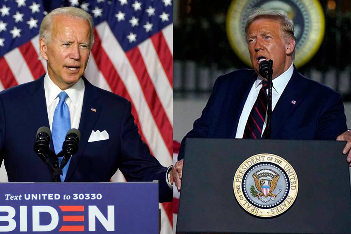A la izquierda, el candidato presidencial demócrata, el ex-vicepresidente Joe Biden. A la dere ...