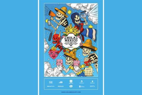 El cartel del festival de cine Hola México, fue creado por el muralista Mauricio Groenewold Go ...