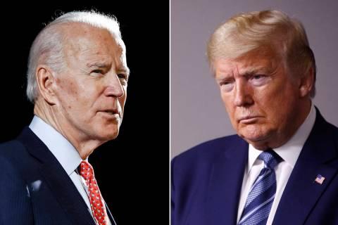 En esta combinación de fotos de archivo, el ex vicepresidente Joe Biden, izquierda, habla en W ...