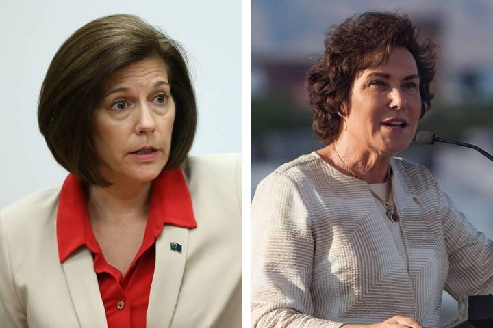La senadora Catherine Cortez Masto, D-Nev., izquierda, y la senadora Jacky Rosen, D-Nev. (Las V ...