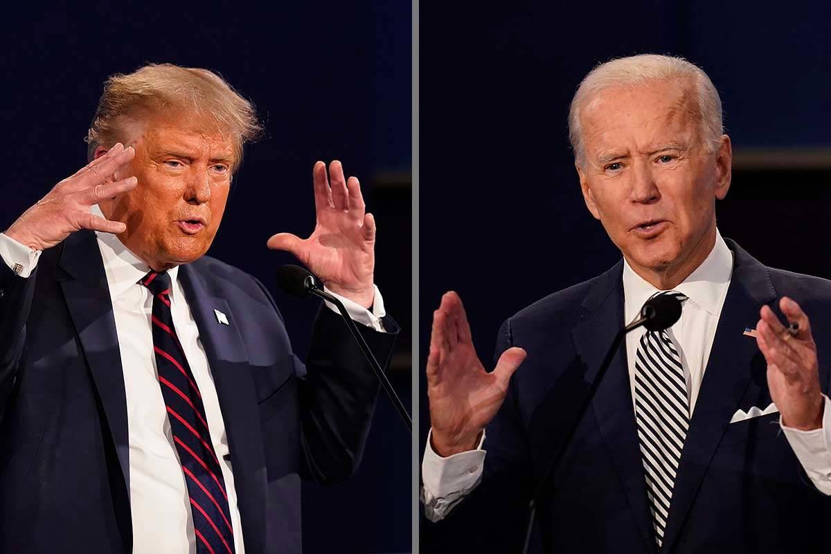 El presidente Donald Trump, izquierda, y el ex vicepresidente Joe Biden durante el primer debat ...
