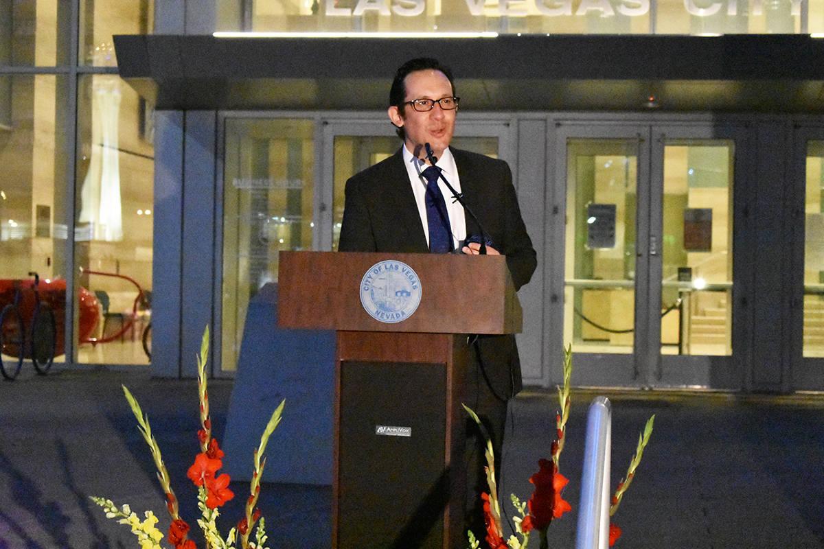 El cónsul de México en Las Vegas, Julián Escutia, durante un evento para concluir el Mes de ...