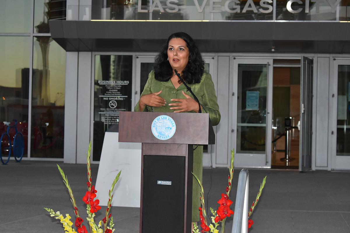 La concejal de Las Vegas, Olivia Díaz, fue anfitriona de una ceremonia para concluir el Mes de ...