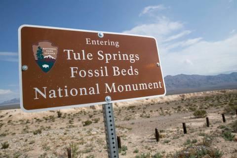 Un letrero marca el límite del Tule Springs Fossil Beds National Monument en Las Vegas en esta ...
