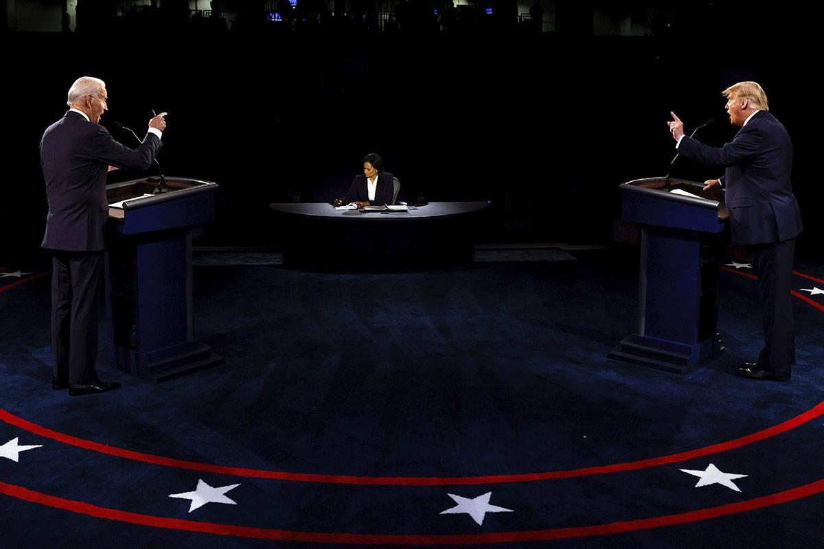 El presidente Donald Trump y el candidato presidencial demócrata, el ex vicepresidente Joe Bid ...