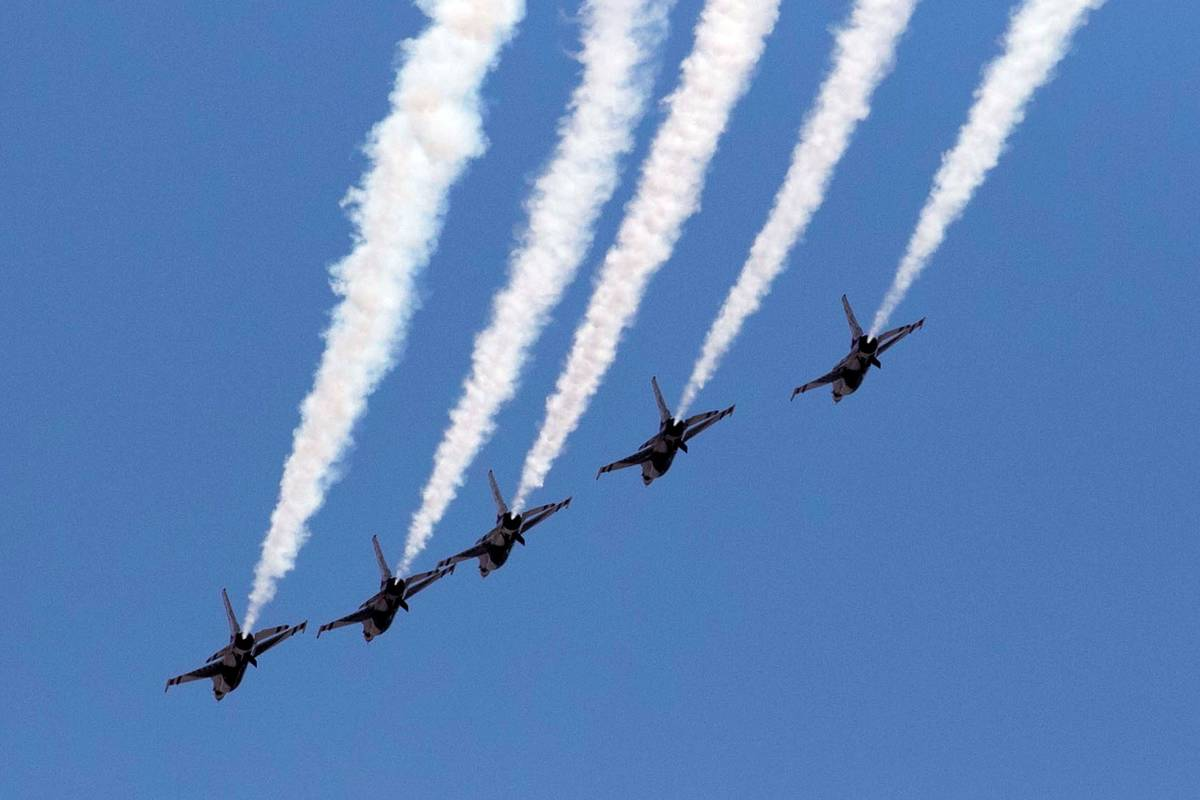 """The U.S. Air Force Air Demonstration Squadron """"Thunderbirds"""" do a flyover Red Rock Casino Resor ..."""