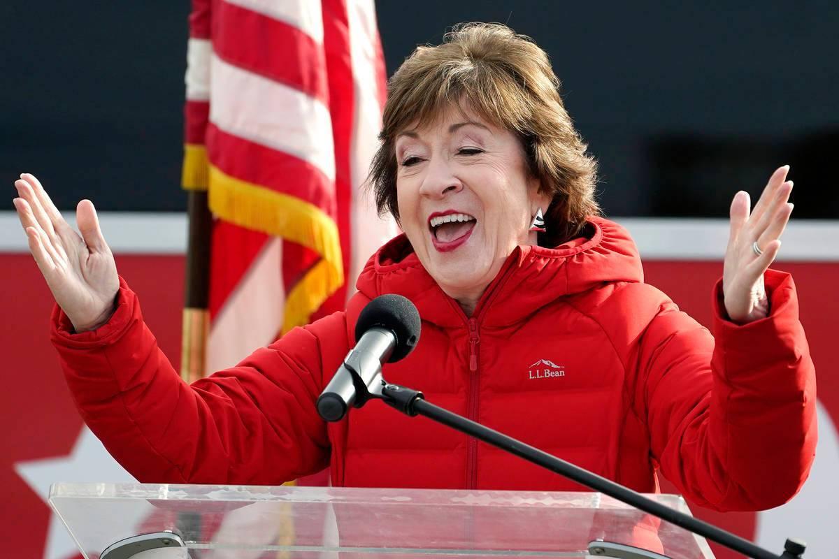 La senadora republicana Susan Collins, republicana por Maine, habla el miércoles 4 de noviembr ...