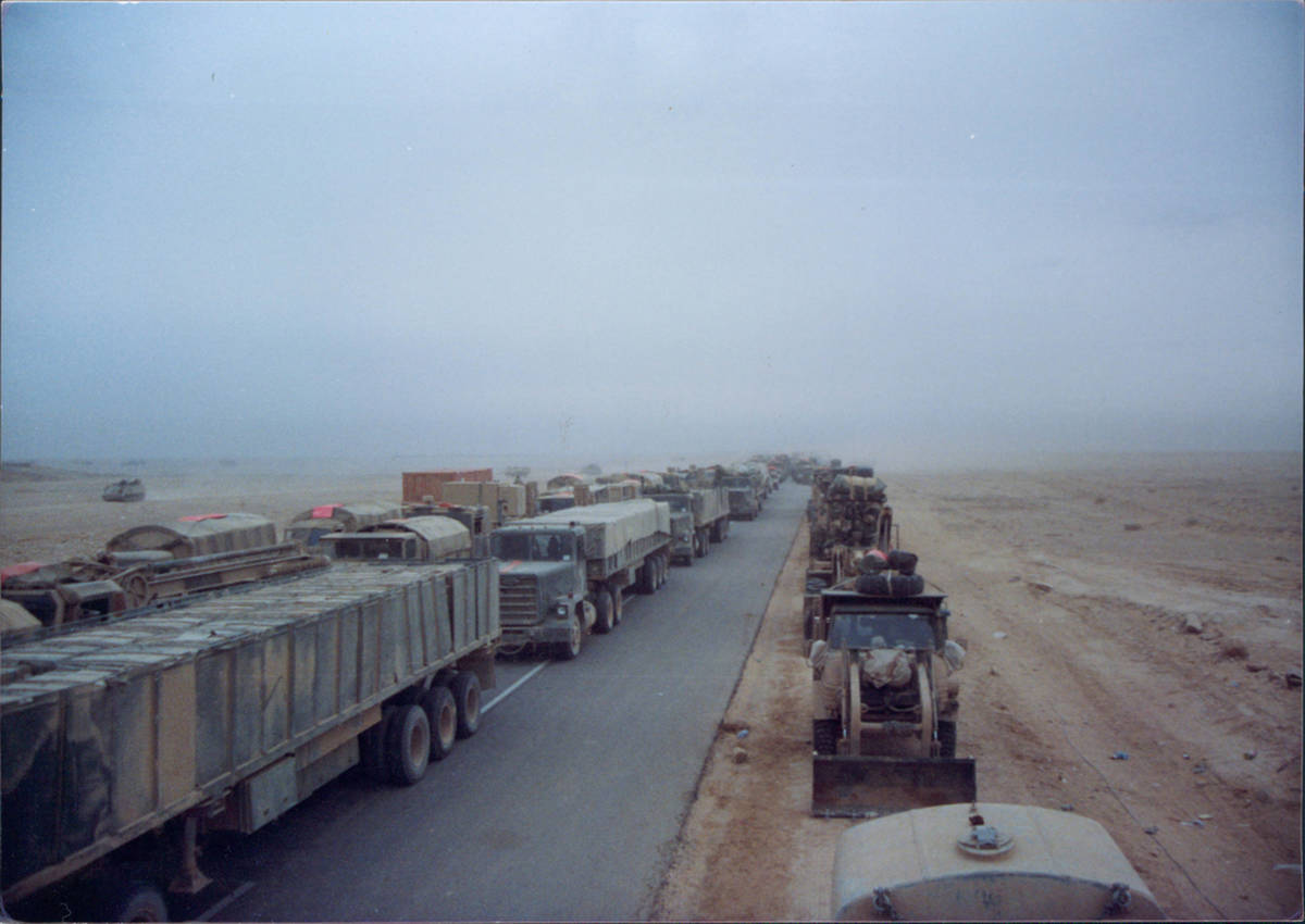 Coalition forces push north on Main Supply Route Texas on the second day of the ground assault ...
