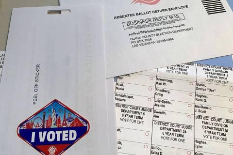 Una boleta por correo para la elección primaria. (Hali Bernstein Saylor/Boulder City Review)