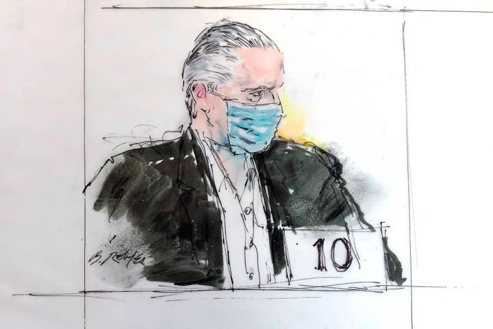 ARCHIVO - En este boceto del artista de la corte del 16 de octubre de 2020, el exsecretario de ...