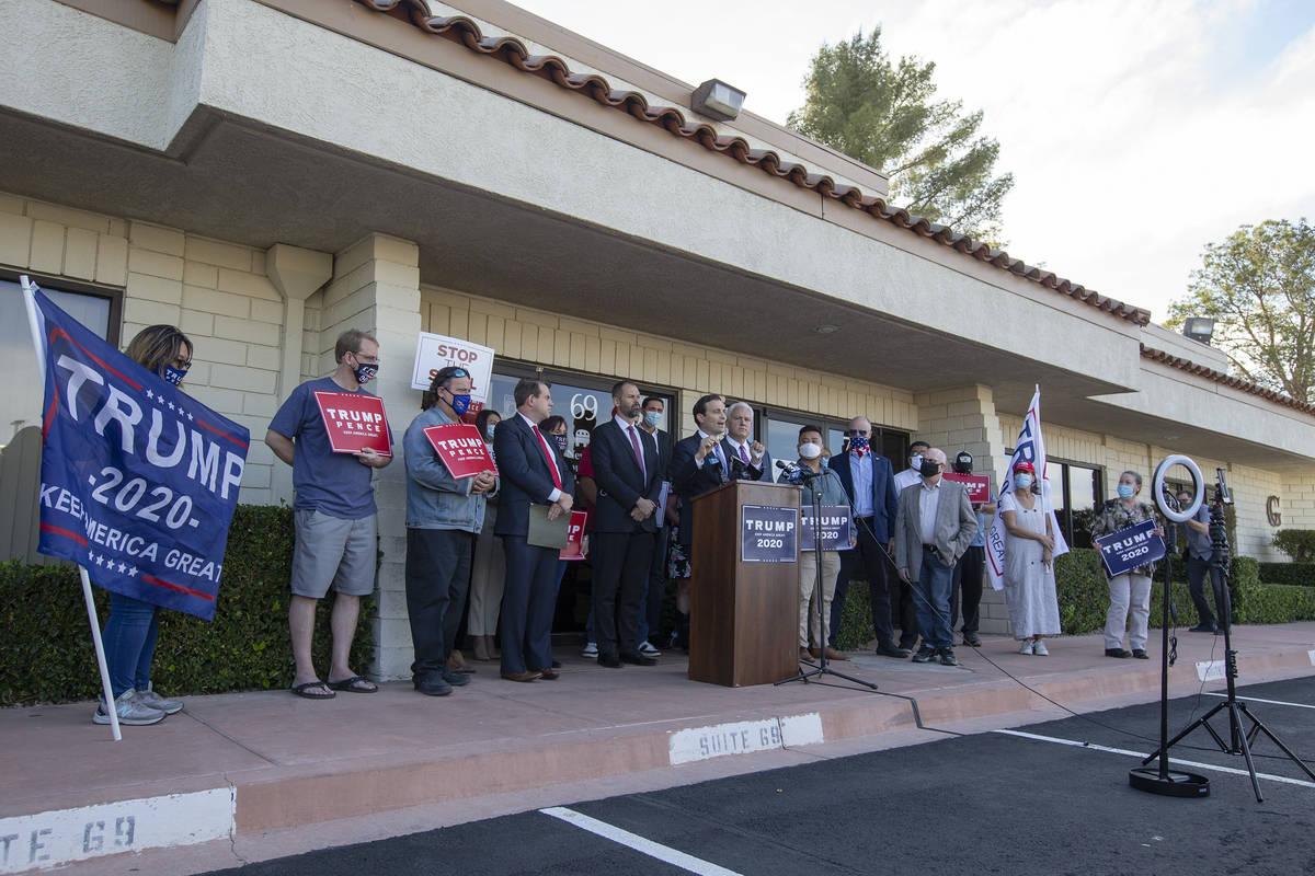 Los líderes republicanos de Nevada dan una conferencia de prensa anunciando una nueva demanda ...