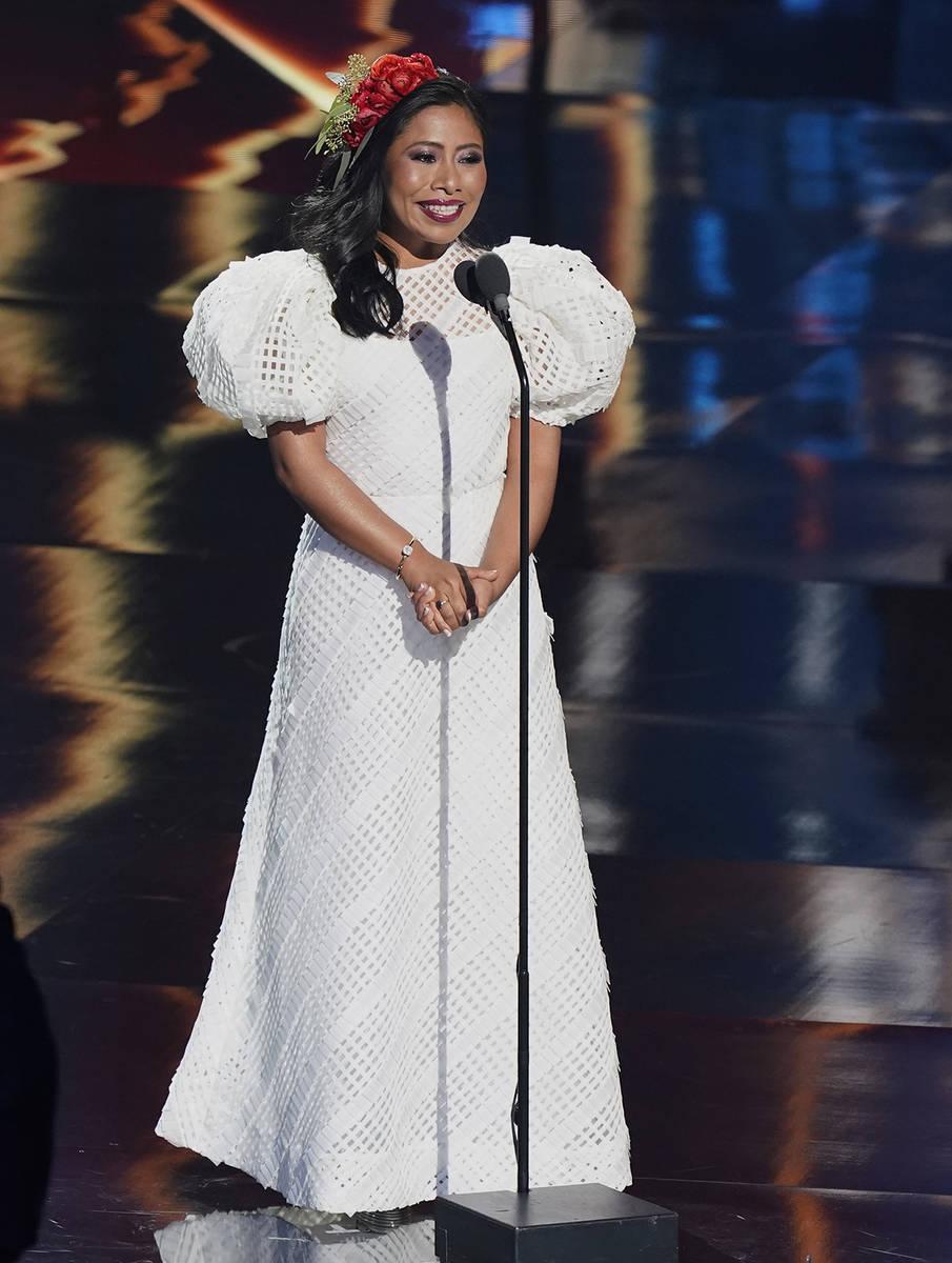 La presentadora Yalitza Aparicio habla en la 21a entrega de los premios Latin Grammy, que se tr ...