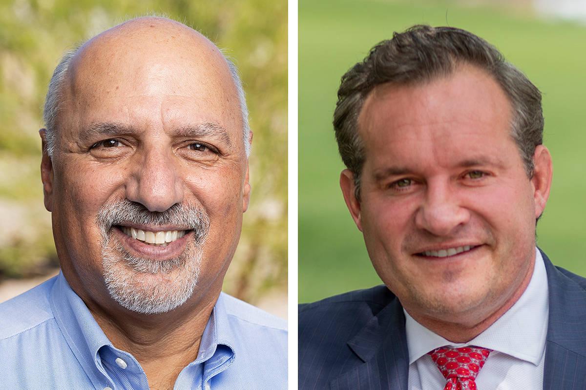 Stavros Anthony, izquierda, y Ross Miller, candidatos a la Comisión del Distrito C del Condado ...