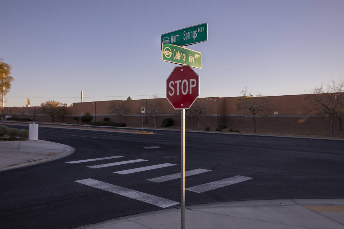 Cross streets Warm Springs Road and Cadence View Way are seen in Henderson on Wednesday, Dec. 2 ...