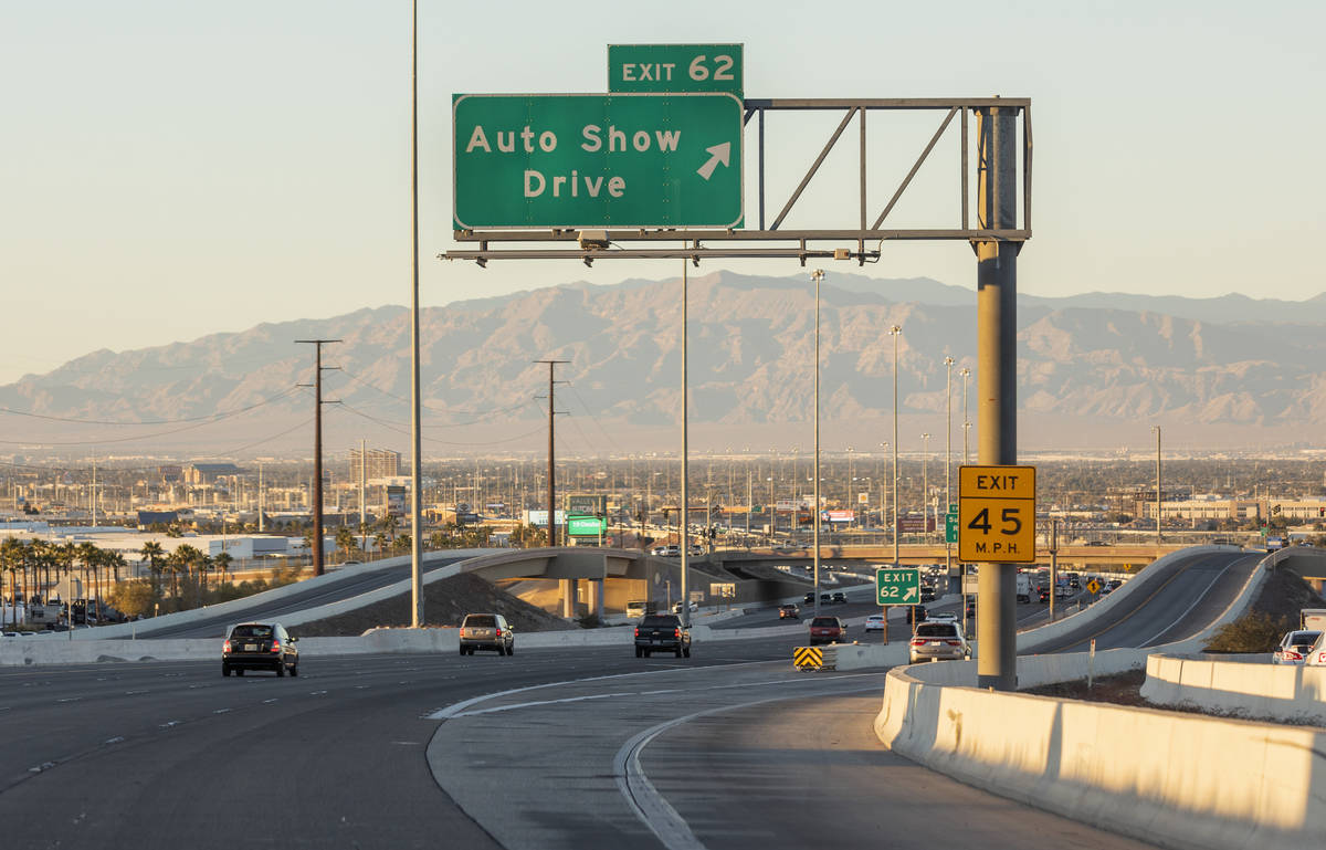 Cars travel north on U.S. Highway 95 near the Auto Show Drive offramp in Henderson on Wednesday ...