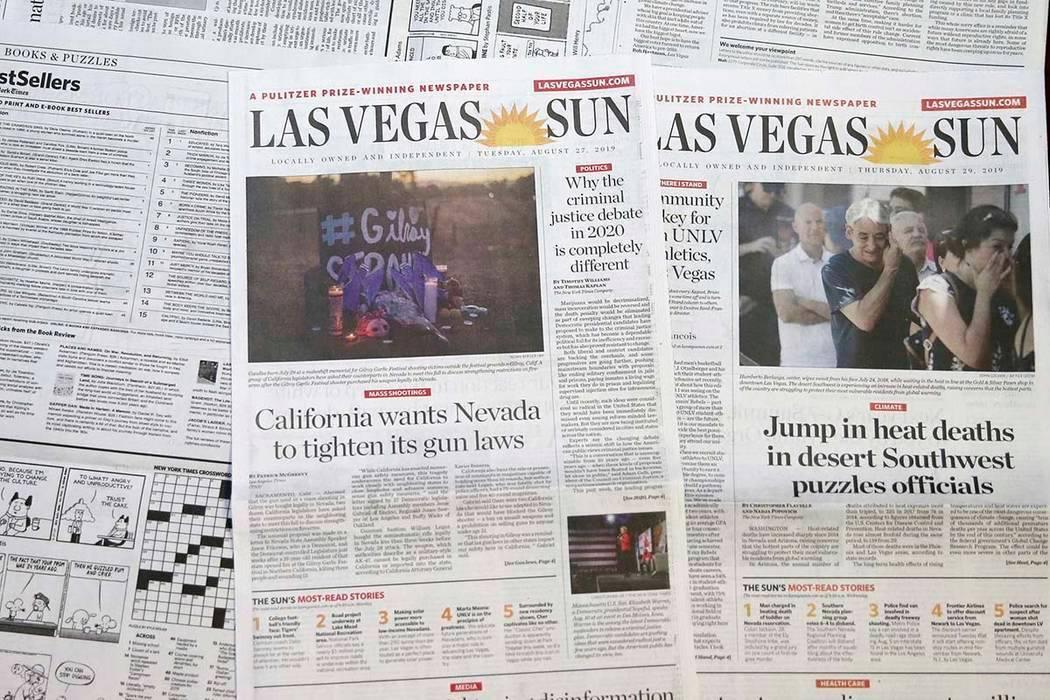 Los periódicos del Las Vegas Sun fotografiados el 29 de agosto de 2019. (K.M. Cannon/Las Vegas ...