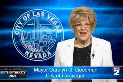 La alcaldesa de Las Vegas, Carolyn Goodman, emitió su Informe de Gobierno en formato virtual, ...