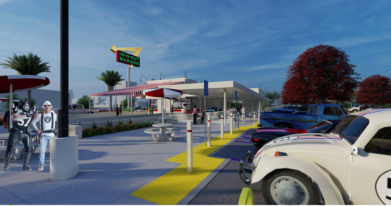 Una representación de un In-N-Out Burger que se construirá frente al Allegiant Stadium en Las ...