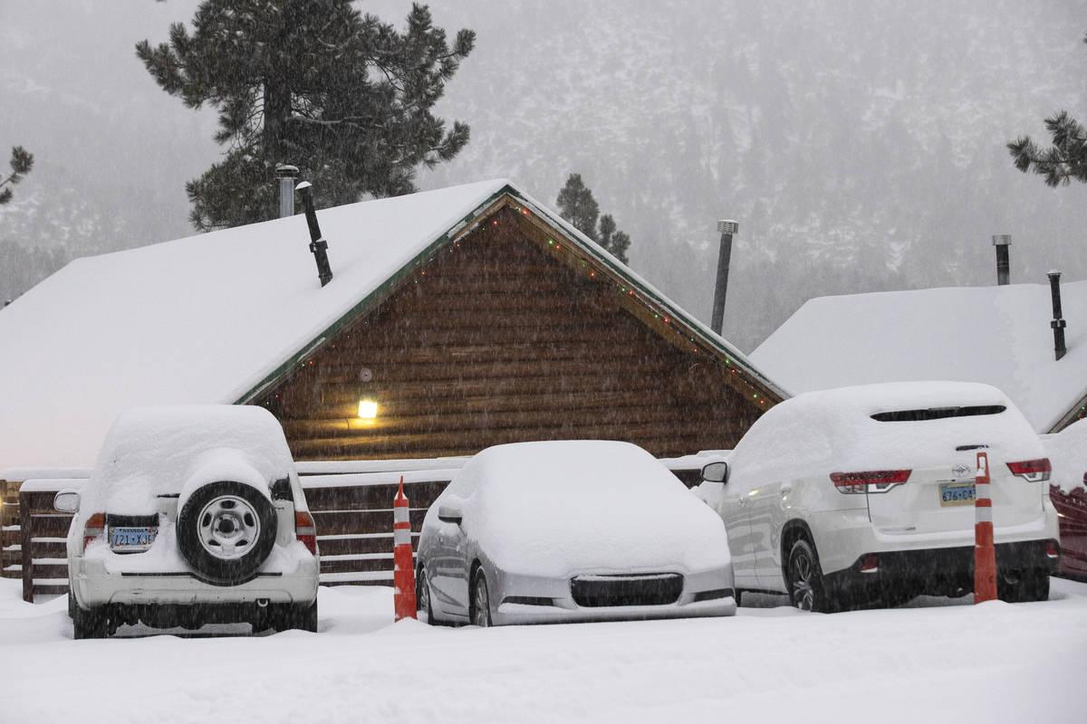 Coches cubiertos de nieve en The Charleston Lodge el lunes, 25 de enero de 2021, en Mount Charl ...