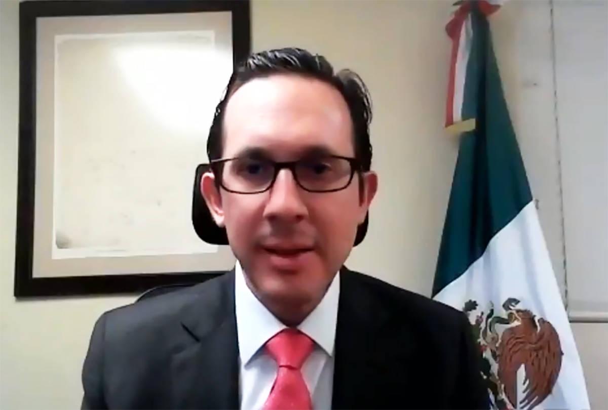 Cónsul titular, Julián Escutia, durante un seminario virtual organizado por el Consulado de M ...