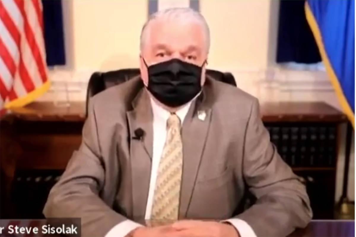 El gobernador Steve Sisolak anuncia una reducción de las restricciones de reuniones de COVID-1 ...