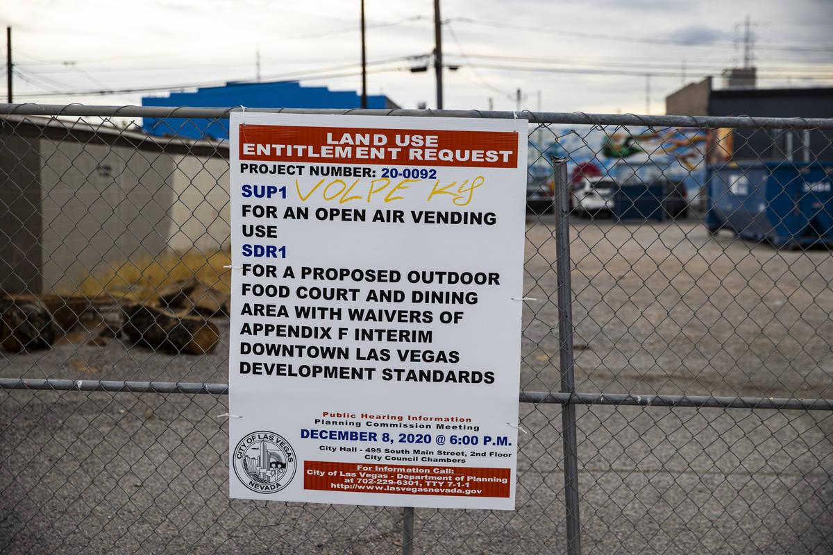 Una vista del parque propuesto para camiones de comida en Arts District en el centro de Las Veg ...