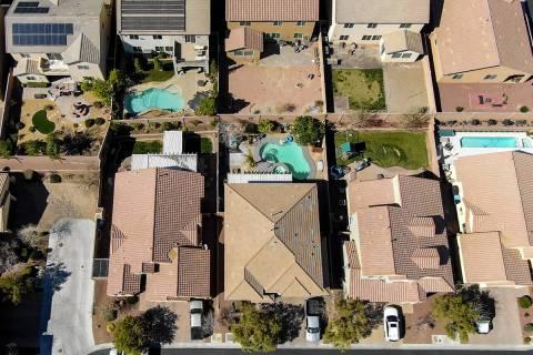 Una vista aérea de la urbanización Providence, cerca de Knickerbocker Park en Las Vegas el ma ...