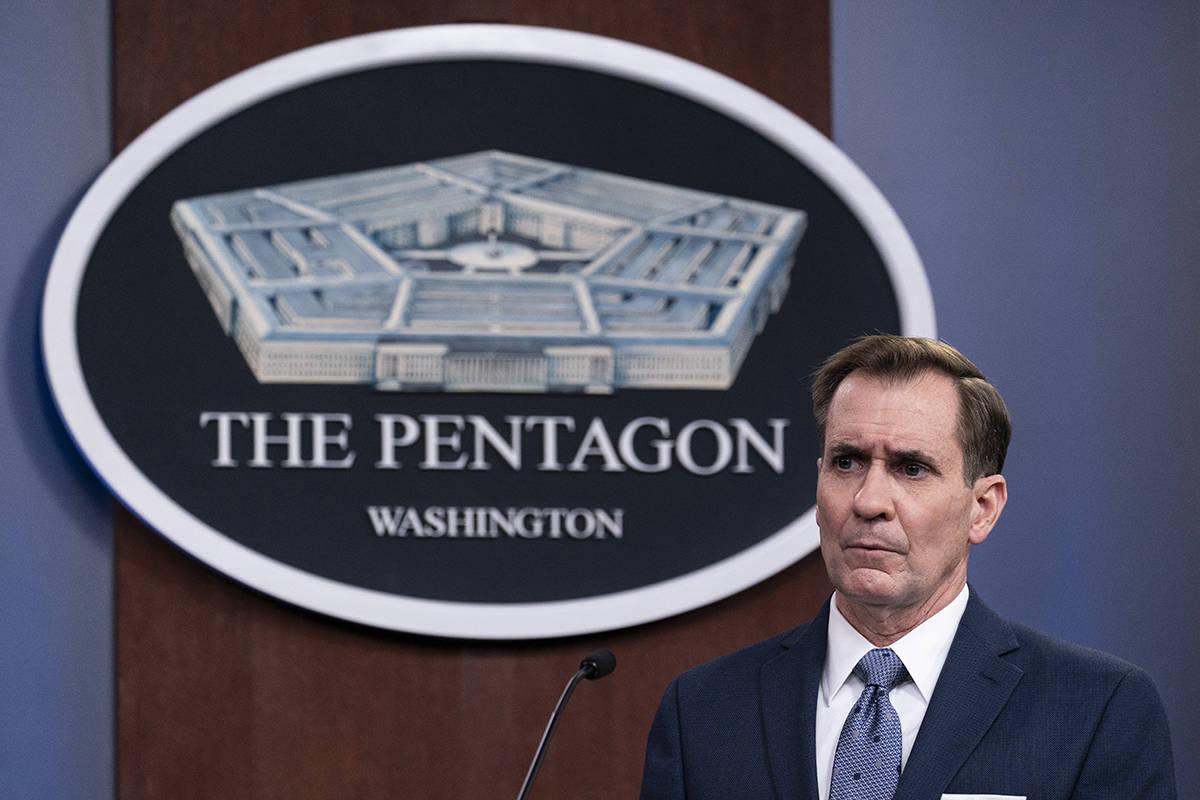En esta fotografía de archivo del miércoles 17 de febrero de 2021, el portavoz del Pentágono ...