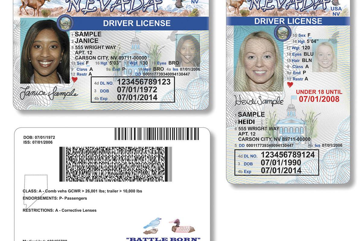 Muestras de licencias de conducir de Nevada. (Archivo del DMV)