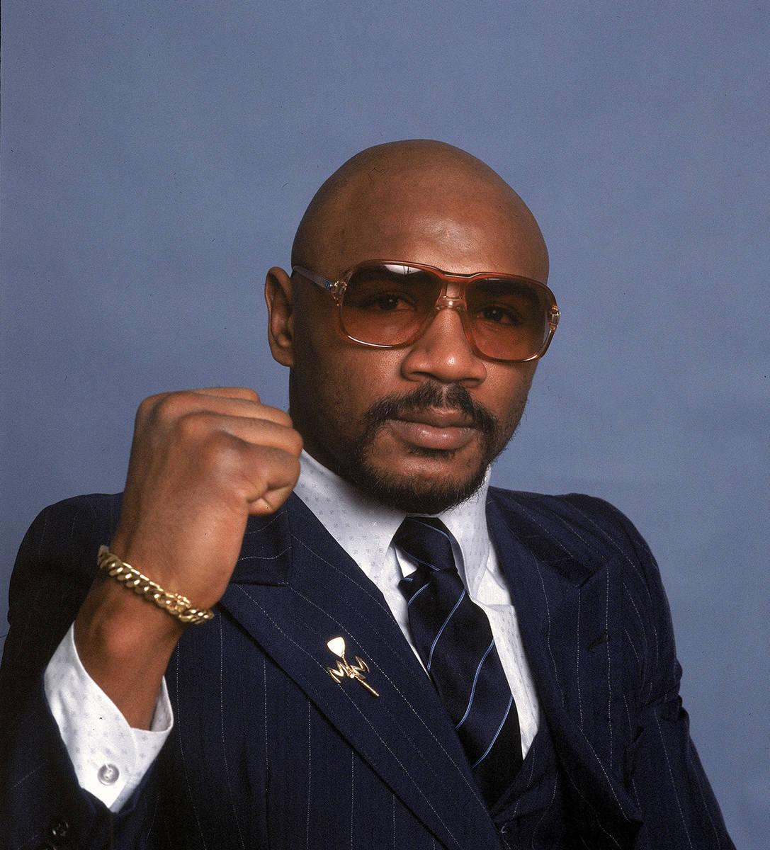ARCHIVO - En esta foto de archivo de 1982, el boxeador Marvin Hagler posa para una foto. Hagler ...