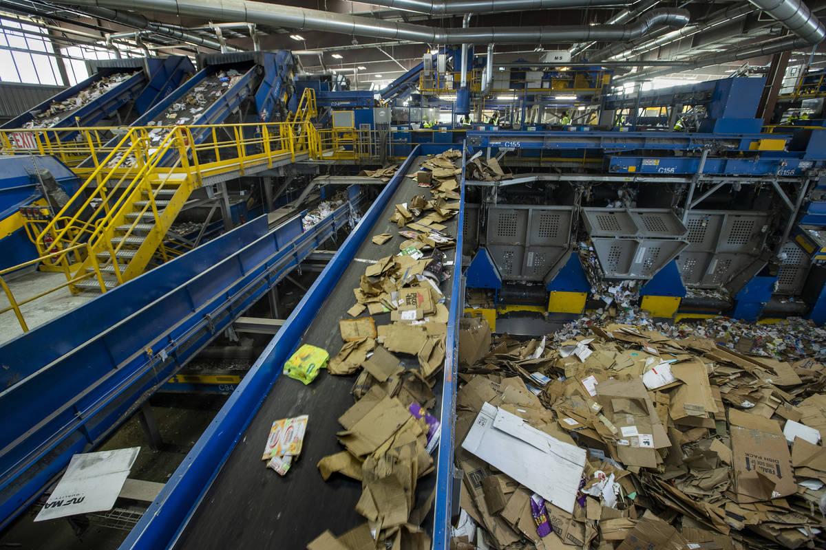 El cartón clasificado se traslada a una pila para su enfardado mientras otros materiales sigue ...