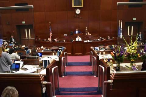 Fotografía de archive del pleno de la Asamblea, dentro del Edificio Legislativo de Nevada en C ...