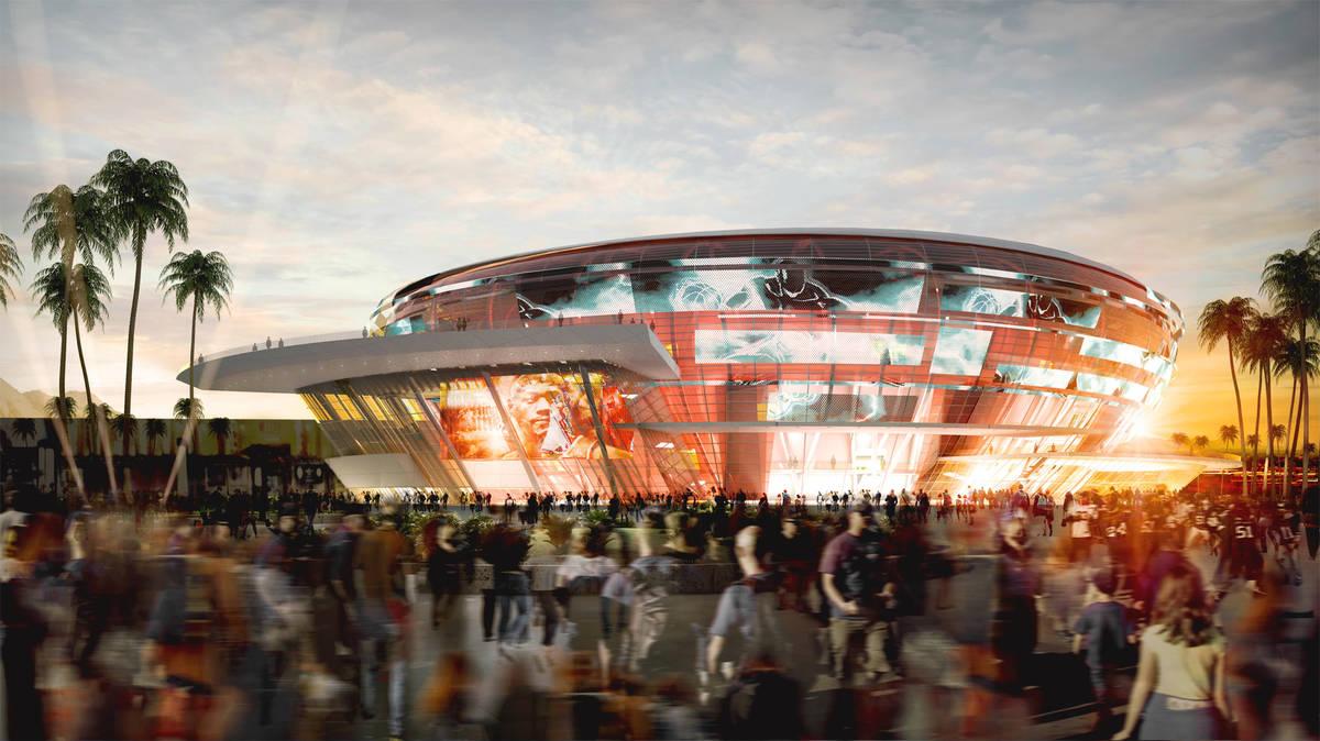 Representación del estadio que el ex jugador de la NBA, Jackie Robinson, quiere construir en e ...