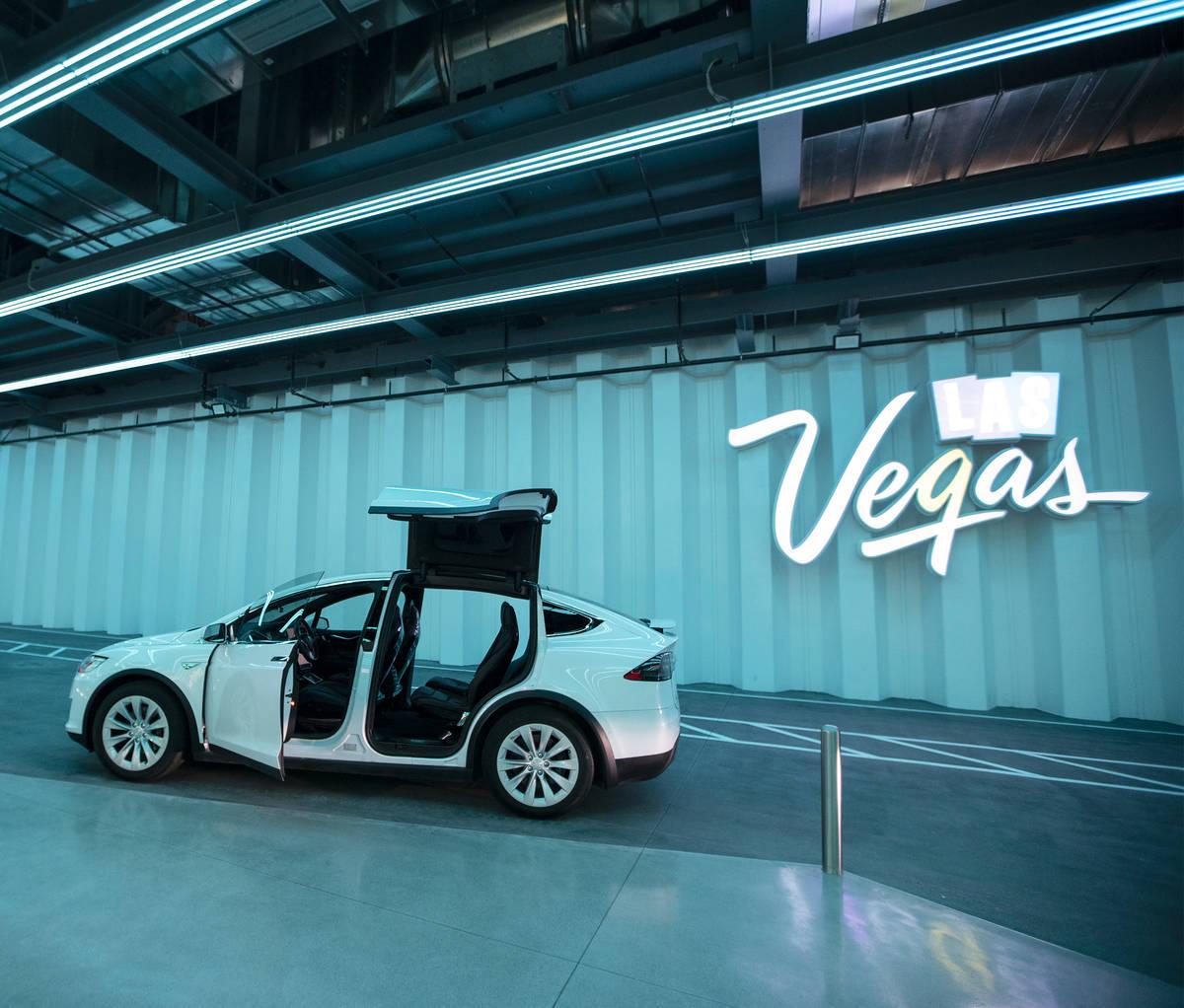 La Central Station del Boring Company's Convention Center Loop durante un tour en Las Vegas C ...