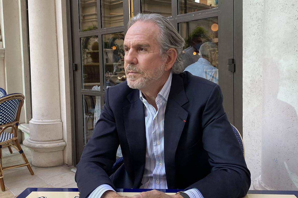 El chef Thomas Keller en el patio de Bouchon en The Venetian el 9 de abril de 2021. (Al Mancini ...